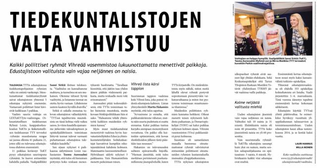 Edarivaalit näkyvät niin sosiaalisessa mediassa kuin printtimediassa. Juttu Tylkkärissä vaalituloksen julkaisemisen jälkeen.