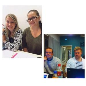 Kokousnelikkona lokakuun edarissa Sanna, Laura, Ville ja Teemu.