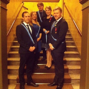 Tunnustuksia olivat juhlakokouksessa vastaanottamassa lexiläisistä Lauri Havia (vasemmalta), Kirsi Kemppi, Tuomas Dahlström, Sanna Mäkilä ja Teemu Auressalmi.